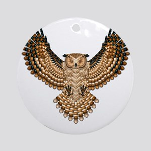 Beaded Owl Totem Round Ornament