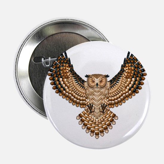 """Beaded Owl Totem 2.25"""" Button"""