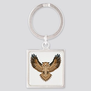 Beaded Owl Totem Square Keychain