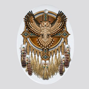 Native American Owl Mandala Oval Ornament