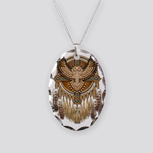 Native American Owl Mandala Necklace Oval Charm