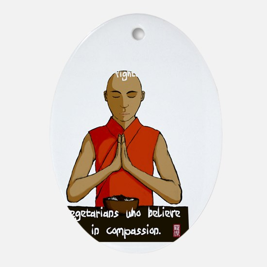 Compassionate Vegetarians (dark colo Oval Ornament