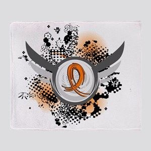 D Orange Ribbon And Wings Multiple S Throw Blanket