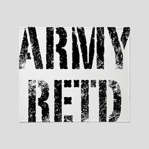Army retd black distressed print Throw Blanket