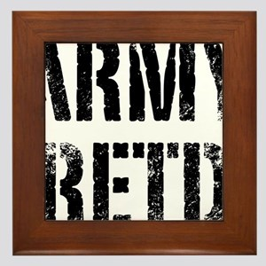 Army retd black distressed print Framed Tile