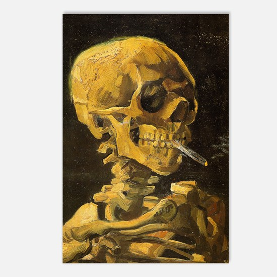 Skull with Burning Cigare Postcards (Package of 8)