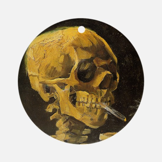 Van Gogh Skull with Burning Cigaret Round Ornament