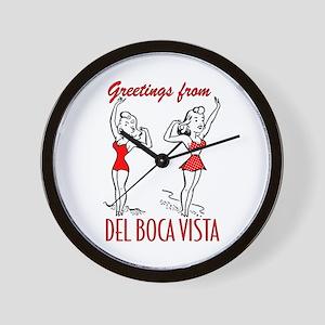"""Greetings from Del Boca Vista"" Wall Clock"