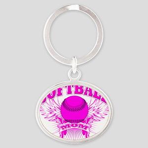 softball mom Oval Keychain