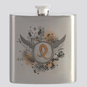 D Orange Ribbon And Wings Kidney Cancer Flask
