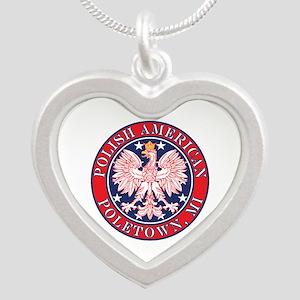 Poletown Michigan Polish Silver Heart Necklace
