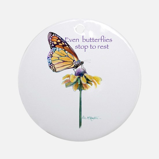 Monarch butterfly resting Ornament (Round)