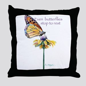 Monarch butterfly resting Throw Pillow
