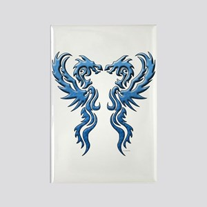 Twin Dragons: Blue Rectangle Magnet