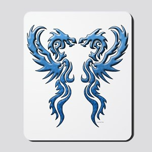 Twin Dragons: Blue Mousepad