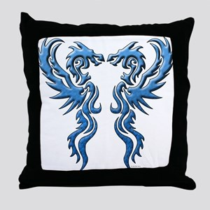 Twin Dragons: Blue Throw Pillow