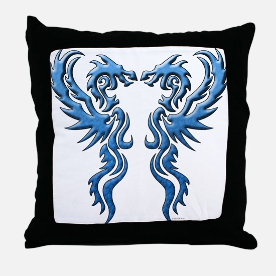 Twin Dragons: Blue Throw Pillow