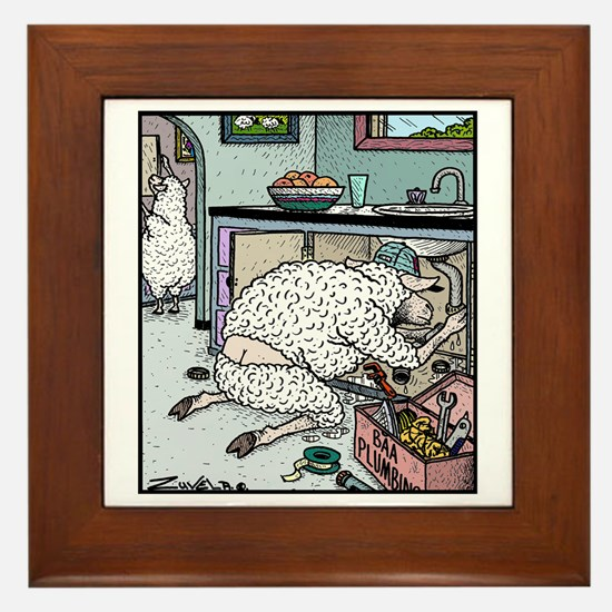 Sheep Plumber butt crack Framed Tile