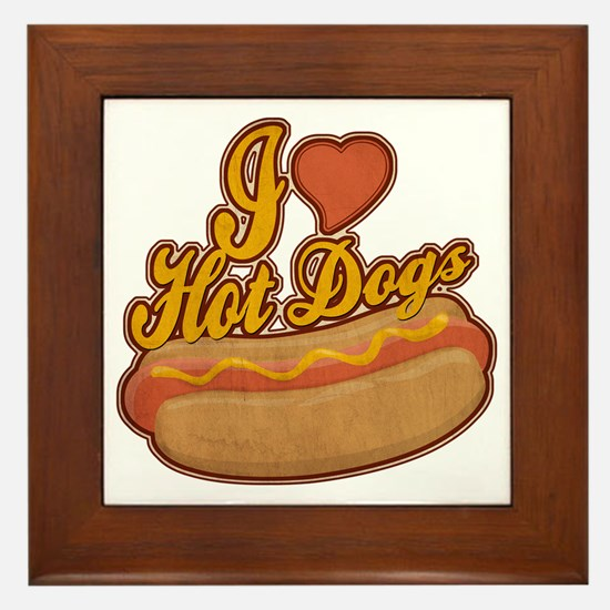 ILoveHotdogs Framed Tile
