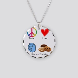 Peace Love Milk and Cookies Necklace Circle Charm