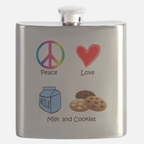 Peace Love Milk and Cookies Flask