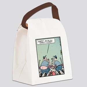 Plumbers butt crack Canvas Lunch Bag