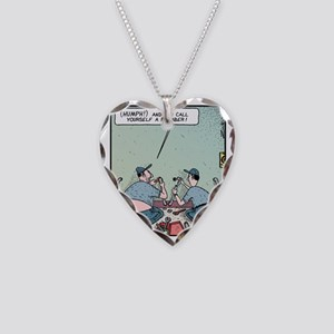 Plumbers butt crack Necklace Heart Charm