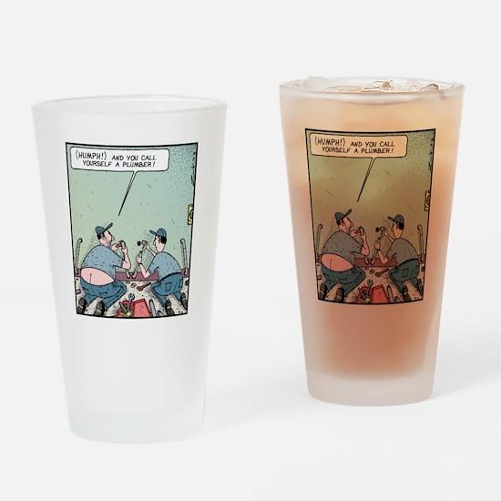Plumbers butt crack Drinking Glass