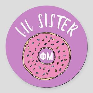 Phi Mu Little Donut Round Car Magnet