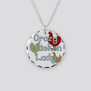 Crazy Chicken Lady Necklace Circle Charm