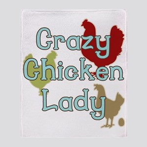 Crazy Chicken Lady Throw Blanket