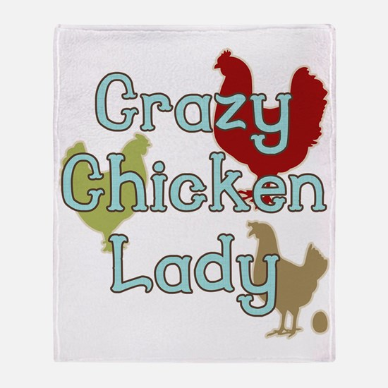 Crazy Chicken Lady Throw Blanket