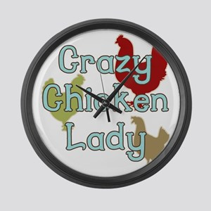 Crazy Chicken Lady Large Wall Clock