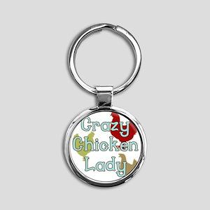 Crazy Chicken Lady Round Keychain