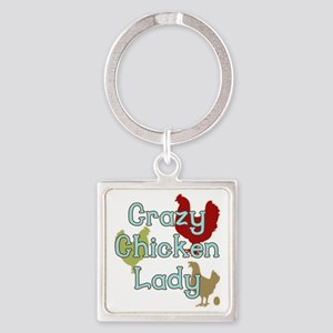 Crazy Chicken Lady Square Keychain