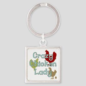 Crazy Chicken Lady Square Keychain