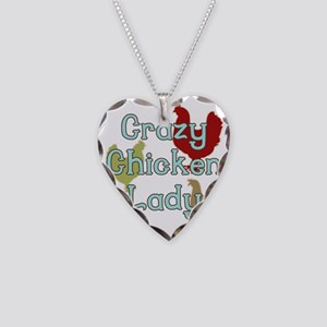 Crazy Chicken Lady Necklace Heart Charm