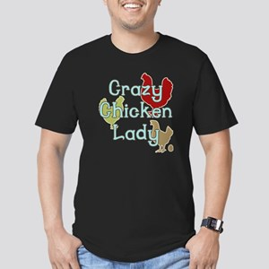 Crazy Chicken Lady Men's Fitted T-Shirt (dark)
