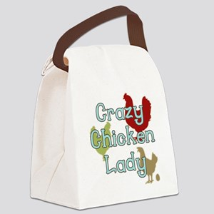 Crazy Chicken Lady Canvas Lunch Bag