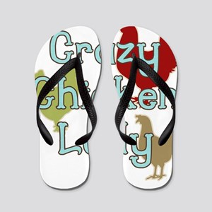 Crazy Chicken Lady Flip Flops