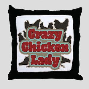 crazychickenladyshirt2 Throw Pillow