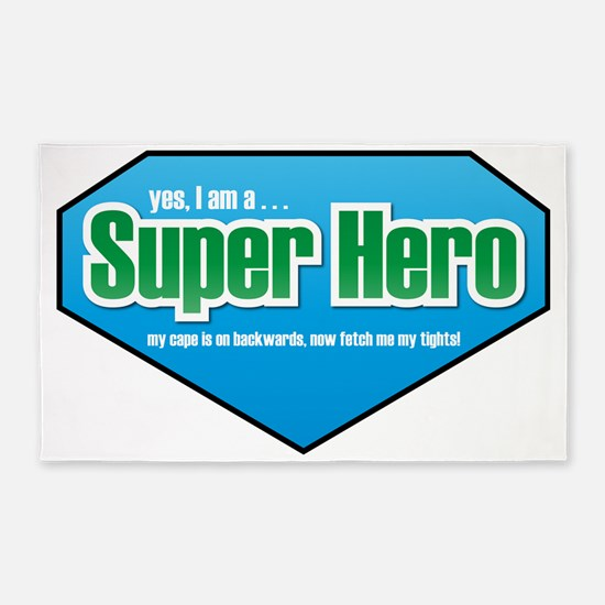 Super Hero in Green and Blue 3'x5' Area Rug