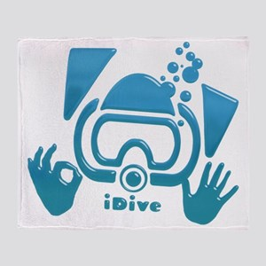 idive ok blue glass Throw Blanket