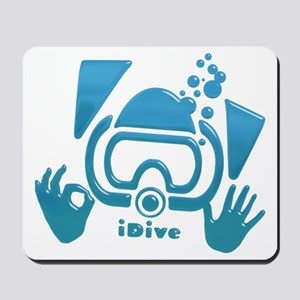 idive ok blue glass Mousepad