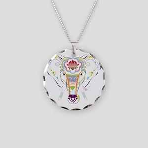 Jewel Elephant Necklace Circle Charm