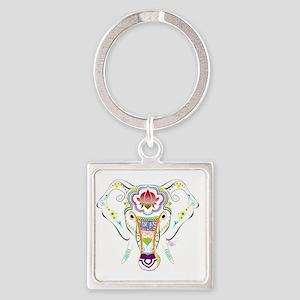 Jewel Elephant Square Keychain