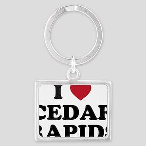 I Love Cedar Rapids Iowa Landscape Keychain