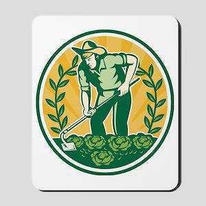Farmer Gardener With Garden Hoe Cabbage Mousepad