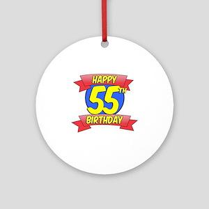 Happy 55th Birthday Balloon Round Ornament