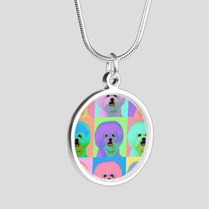 Op Art Bichon Silver Round Necklace
